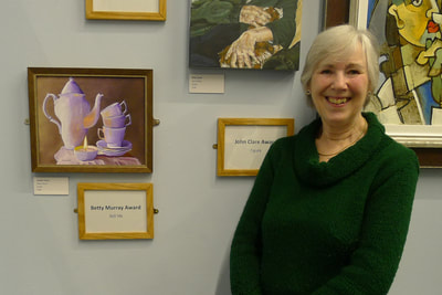 Moira Glover winner of the Betty Murray award for the best still life painting.